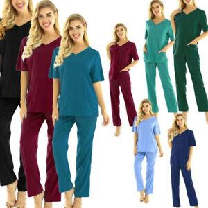 Womens Men's Unisex Medical Scrub Set Uniform Top Pants Hospital Nurse Outfits