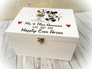 Details About Personalised Wooden Disney Wedding Box Minnie Mickey Mouse Engagement Gift
