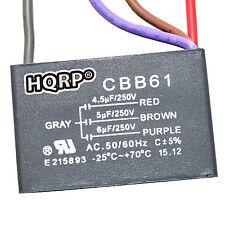 HQRP Capacitor de Motor para Hampton Bay 4.5uf+5uf+6uf, 4-Alambres / CBB61