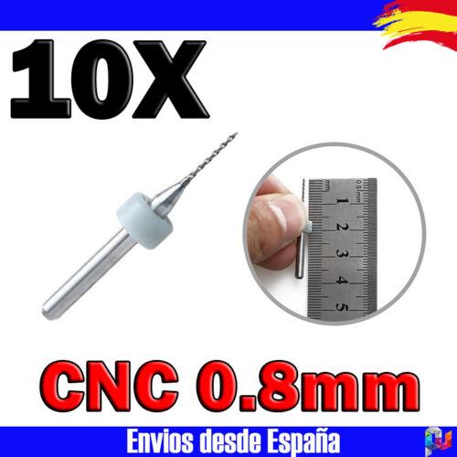 10x Micro brocas 0.8mm CNC PCB SMT carburo de tungsteno BOQUILLAS 3D Estuche