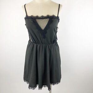 accebadbe4fcd9 TOBI Womens Medium Mini Cami Dress Black Lace Hem Trim Spaghetti ...