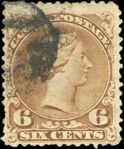 1868-Used-Canada-F-Scott-27a-6c-Large-Queen-Issue-Stamp