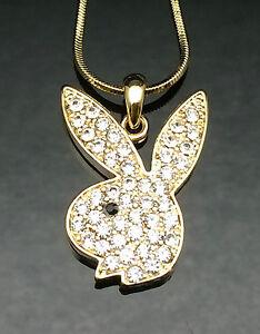 Gold crystal playboy bunny pendant necklace swarovski rabbit girl image is loading gold crystal playboy bunny pendant necklace swarovski rabbit aloadofball Image collections