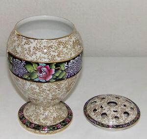 eBay & Details about Antique Flower Frog Vase 2p Flower Frog Lid + Vase English Porcelain Floral Band