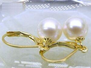 9-10MM-AAA-PERFECT-ROUN-south-sea-white-pearl-earrings-14K-SOLID-GOLD-MARKED
