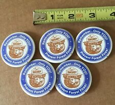 VINTAGE SMOKEY THE BEAR PREVENT FOREST FIRES BUTTON BADGE PIN Lot Of 5