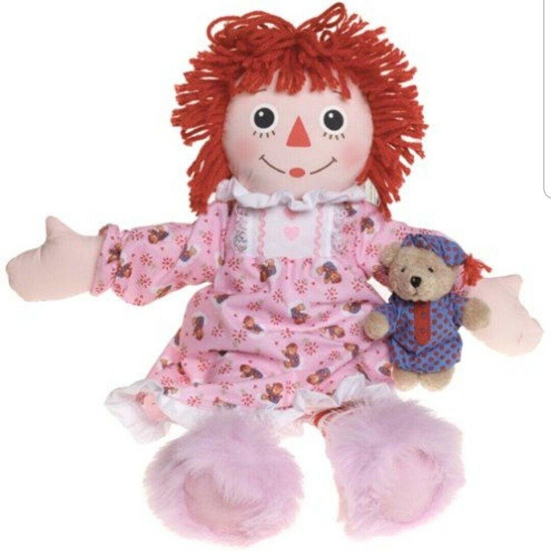 2002 Hasbro Bedtime Raggedy Ann 14  Muñeca Suave Con Oso De Peluche