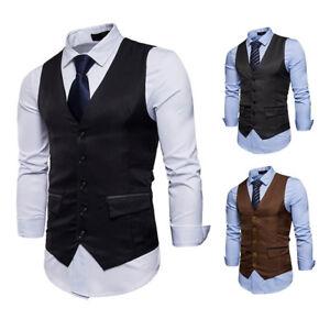 grande variété de modèles technologies sophistiquées original à chaud Détails sur Homme Affaires Gilet Smoking Slim Costume Veste Sans Manche  Veston Décontractée