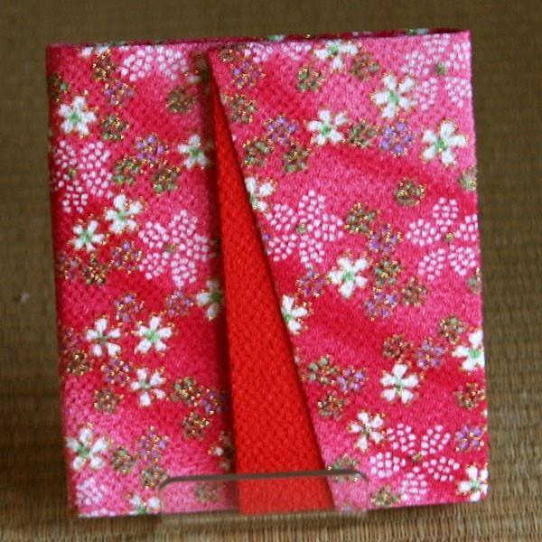【CHIRIMEN CARD CASE】With 6 pockets and a hook, Made in Japan.