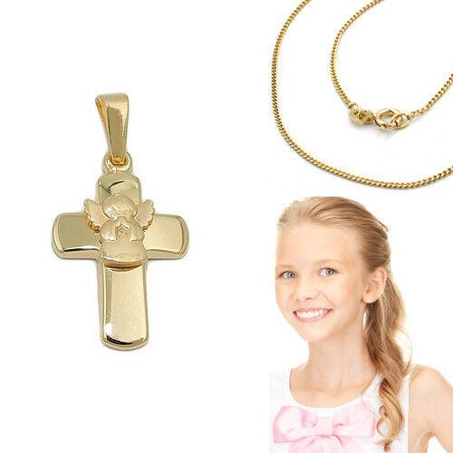 Echt Gold 585 betender Engel Kreuz Anhänger Kinder Taufe Kommunion Silber Kette