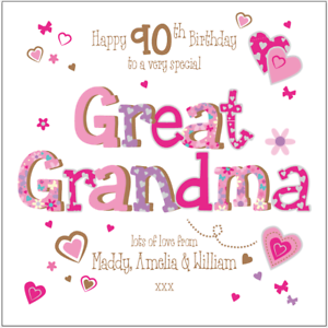 Image Is Loading Personalised 90th Birthday Card Great Grandma Nana