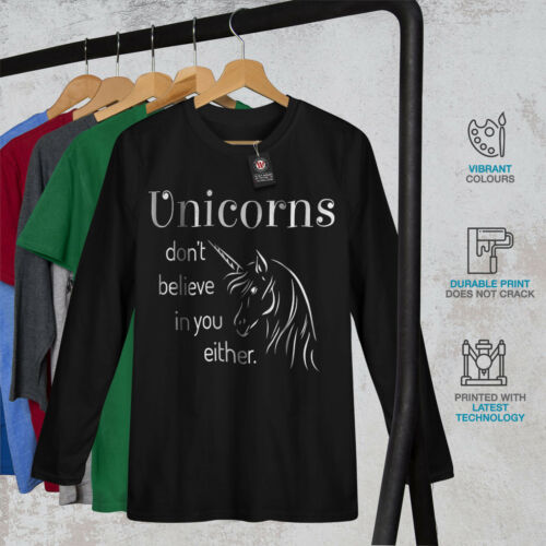 Wellcoda Unicorn Believe Womens Long Sleeve T-shirt Funny Casual Design