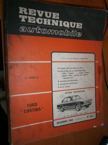 Ford CORTINA 1300 1500 1600 GT E revue tech RTA 283