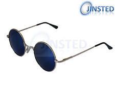 Steampunk teashades Vintage gafas de sol círculo Redondo Azul Espejo Oro sp001