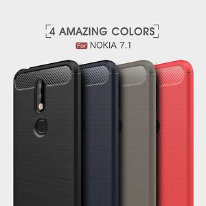 Pour-Nokia-7-1-Fibre-de-Carbone-Slim-TPU-Robuste-Coque-Gel-Silicone-Skin-Coque