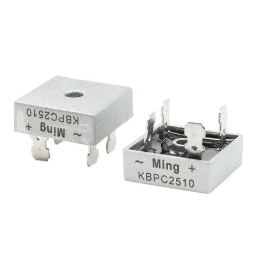 2 Pcs Square Silver Tone Head 1000V 25A Full Wave Bridge Rectifier N3J7
