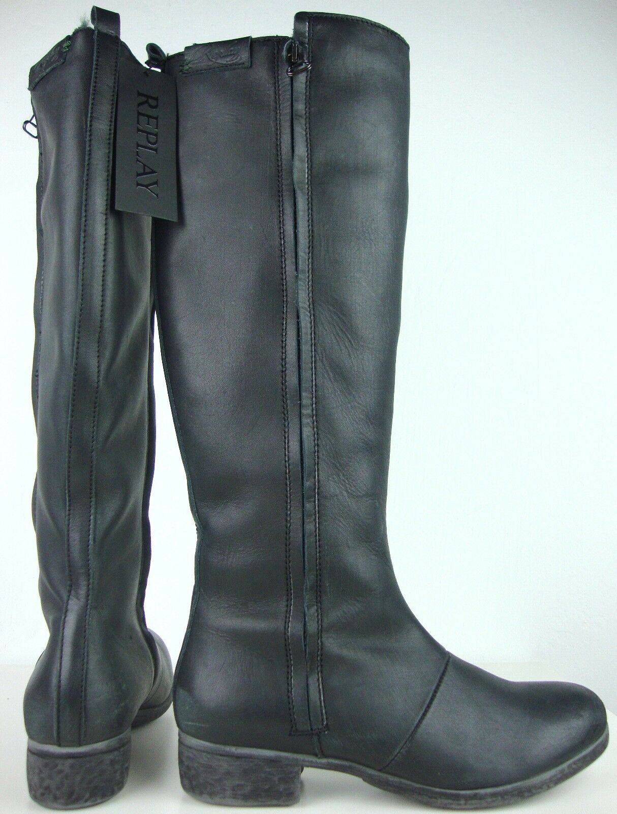 Grandes zapatos con descuento REPLAY Damen Hochschaftstiefel Stiefel Boots Leder Schwarz Gr.37 NEU mit ETIKETT