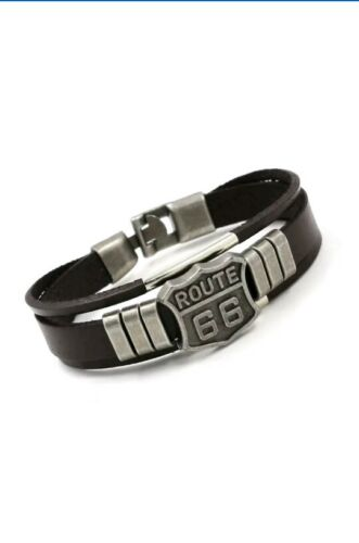 Mens boys  silver ROUTE 66 Bangle Leather Beaded Hand Chain Buckle  Bracelet