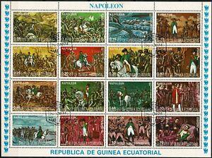 bloc-de-16-timbres-de-napoleon-guinee-Equatoriale-1974-Cachet-1er-Jour
