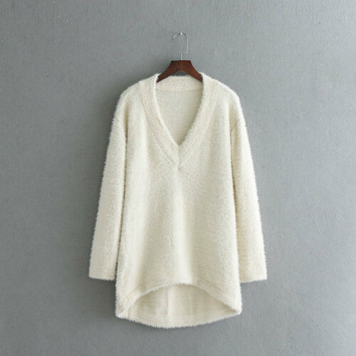 Maglione Bianco Maniche Donna Lunghe Scuro Scollo Maglia Nero Morbido 44755 HBZaqUwH