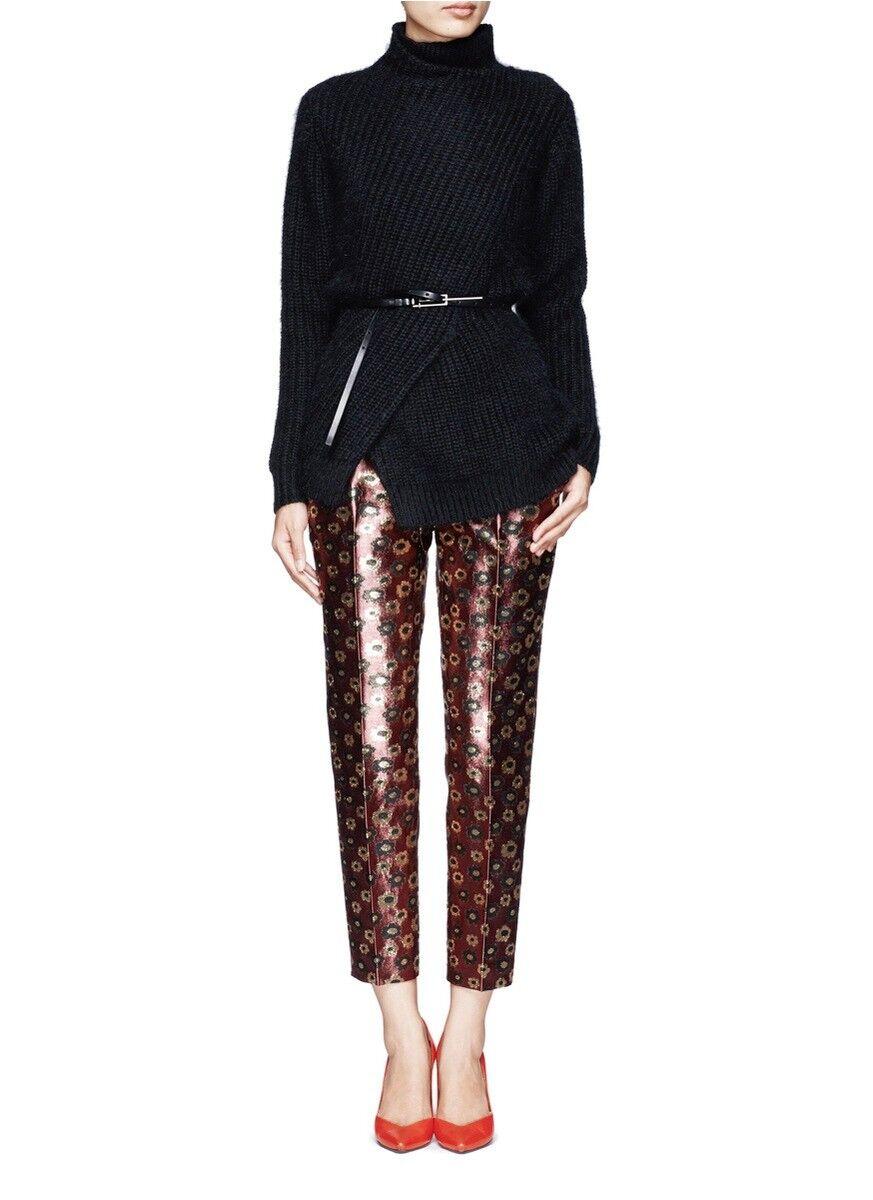 NWT  Designer J.CREW Italian Wool Silk Brocade Slim Pants US 8