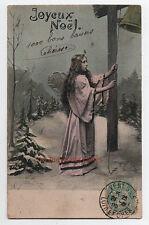 Carte postale ancienne   Ange sonnant la cloche   Joyeux Noël   Neige  1905