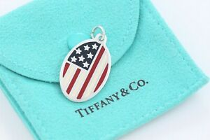 3ccf9d7110ee3 Details about Tiffany & Co Silver American Flag Red White Blue Enamel Charm  w/ Pouch Bracelet