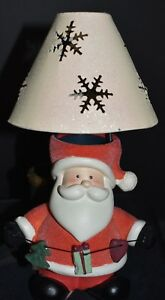 Ceramic-Christmas-Santa-Tealight-Candle-Holder-Lamp-Snowflake-Metal-Shade