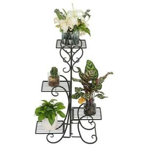 4-TIER-Metal-Shelves-Flower-Pot-Plant-Stand-Display-Indoor-Outdoor-Garden-Patio
