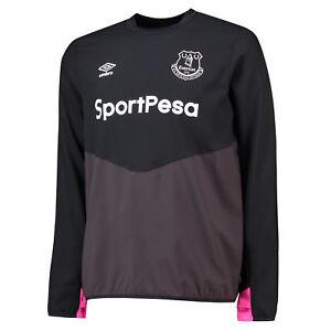 Everton Training Drill Top Fußball Shirt Tee Top Langarm Schwarz Herren Umbro