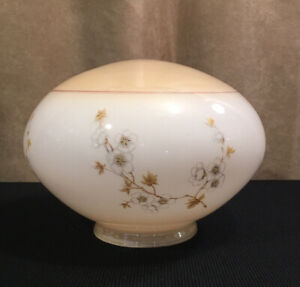 Vintage-Floral-Dome-Ceiling-Light-Fixture-Almond-White-Glass-10