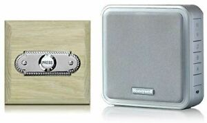 Honeywell-200m-Wireless-Doorbell-kit-with-Roped-Chrome-on-Unvarnished-Oak-Plinth