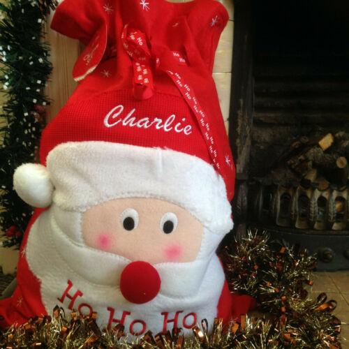 Personnalisé Large Noël Ho Ho Ho Santa Sack Stocking brodé avec tout nom