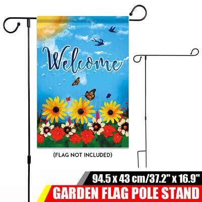 Garden Flag Iron Pole Outdoor Yard Flags Stand Holder Banner Bracket US In Stock