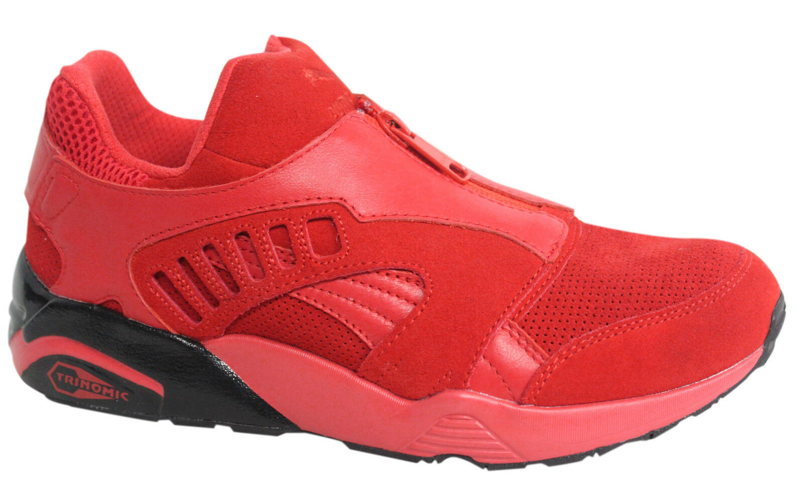Puma Trinomic Red Leather Zip Up Mens Trainers 361448 01 U107