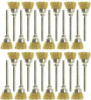 24pc 3/8 Mounted Brass Wire Cup Rotary Brush Works With Dremel Foredom Tools