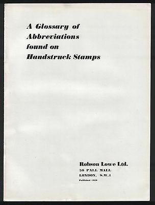 A GLOSSARY of ABBREVIATIONS FOUND on HANDSTRUCK STAMPS, useful guide, 1959