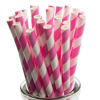 x25 Striped Paper Drinking Straws, Retro  Vintage Cake Pop Lollipop Sticks