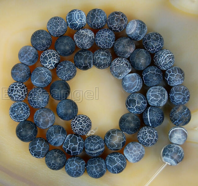 """New 10mm Black Fire Agate Gemstone Round Beads Matte Finish Strands 15""""AAA+"""