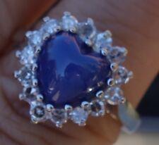 Moon star Blue stone Heart Single diamond vintage diamond ring 14k WG