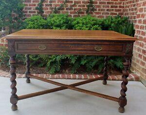 Antique English Oak BARLEY TWIST Writing Desk Bureau Plat Library