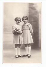 BM813 Carte Photo vintage card RPPC Enfant jeune fille mode fashion fleurs roses