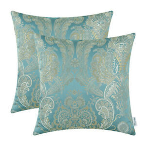 2Pcs-Cushion-Covers-Pillows-Shell-Reversible-Vintage-Florals-Teal-18-034-X18-034
