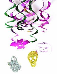 Halloween-Hanging-FOIL-Swirl-Decorations-de-fete-Cranes-Citrouilles-araignees