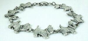 6.25 inch Cute Westie Dog Bracelet antique silver plated 15.87 cm
