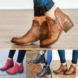 Womens Low Block Heel Side Zip Ankle
