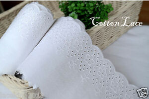 5Yds-Broderie-Anglaise-cotton-eyelet-lace-trim-4-034-10-3cm-white-YH1053-laceking