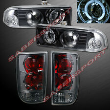 1998-2004 CHEVY BLAZER BLACK HALO PROJECTOR HEADLIGHTS + SMOKE TAIL LIGHTS