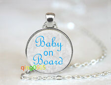 Baby on Board For Mother dome Tibet silver Chain Pendant Necklace wholesale