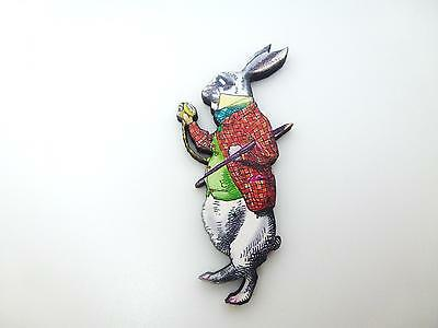 ALICE IN WONDERLAND THE LATE WHITE RABBIT SMART CLOTHES WOODEN BROOCH PIN BADGE
